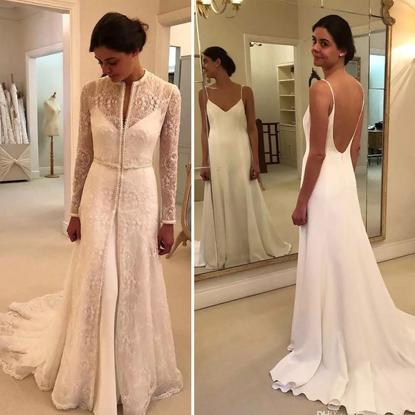 Two Piece Dresses for Wedding Fresh Discount 2019 Graceful Mermaid Wedding Dresses with Lace Jacket Spaghetti Strap Backless Pearls Chapel Bridal Gown Two Piece Country Bridal Gowns