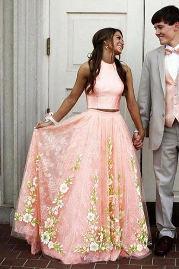Two Piece Dresses for Wedding New Pink Two Piece A Line Floor Length Sleeveless Floral Prom