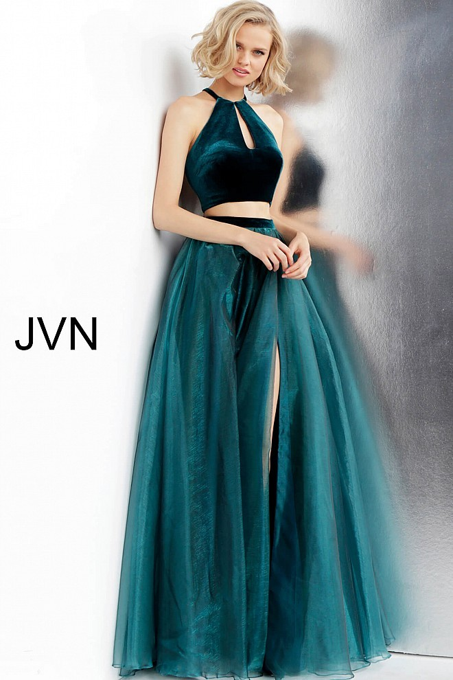 jovani jvn cutout back two piece formal gown 01 530