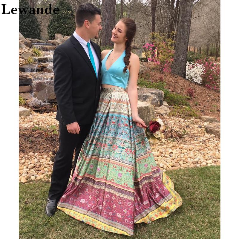 Two Piece Dresses for Wedding Unique Lewande Halter Satin Printed Flower Prom Dress Floral