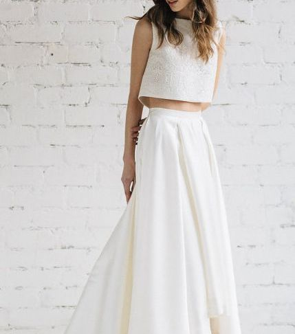 Two Piece Dresses for Wedding Unique Modern Two Piece Crop top Wedding Dress