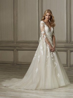 adrianna papell brielle bell sleeves wedding dress 01 466