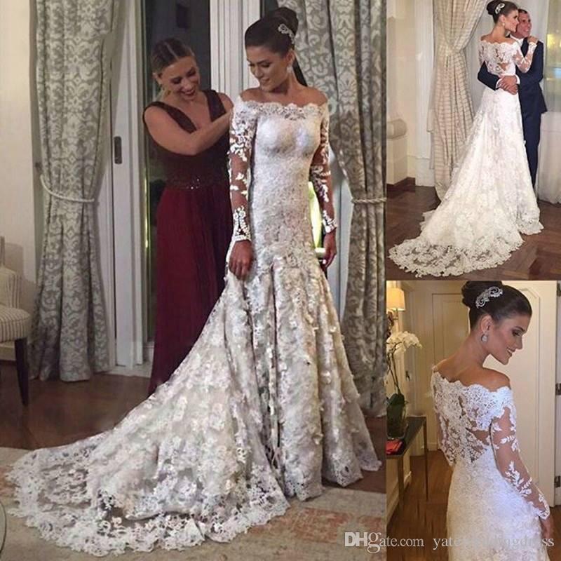 mermaid lace wedding gown unique groshandel 2018 white lace mermaid brautkleider bateau y lange