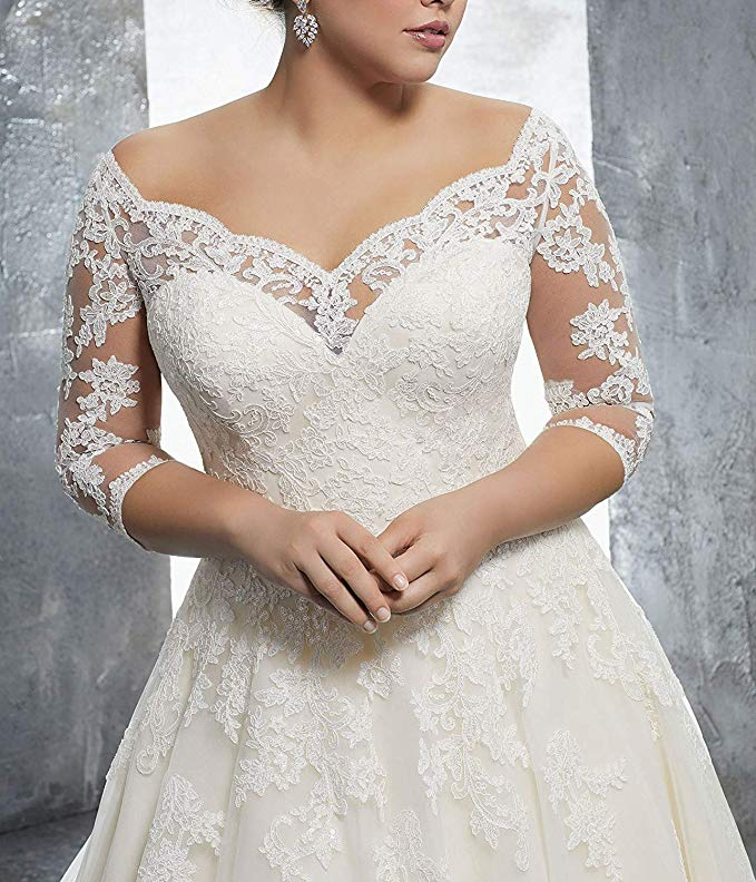 Used Plus Size Wedding Dresses Awesome Women S Plus Size Bridal Ball Gown Vintage Lace Wedding Dresses for Bride with 3 4 Sleeves