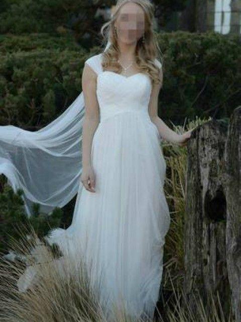 Used Plus Size Wedding Dresses Elegant Used David S Bridal Swiss Dot Tulle Empire Waist soft