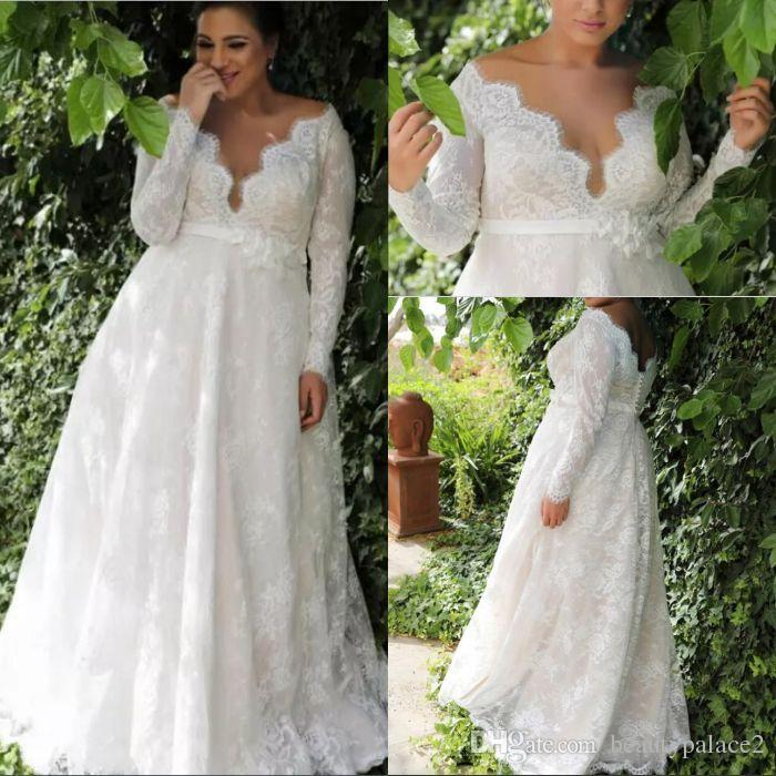 Used Plus Size Wedding Dresses Lovely Garden A Line Empire Waist Lace Plus Size Wedding Dress with Long Sleeves Y Long Wedding Dress for Plus Size Wedding
