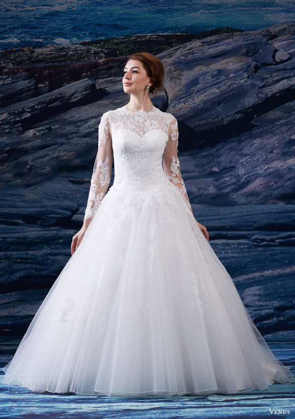 venus bridal fall 2015 venus collection ve8200 wedding dress sweetheart neckline lace illusion jewel neckline long sleeves