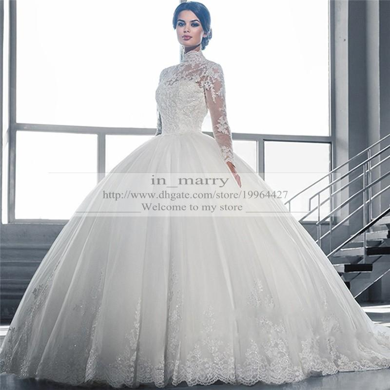 victorian arabic long sleeves ball gown wedding