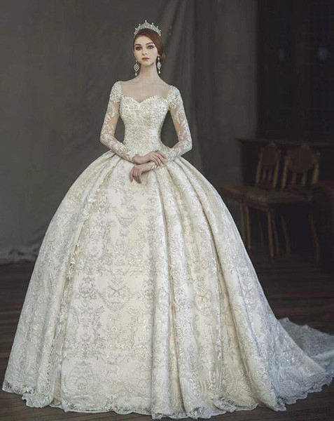 Victorian Lace Wedding Dresses Elegant Vintage Victorian Gothic Ball Gown Wedding Dresses 2018 Amazing Lace Pearl Detail Sweetheart Long Sleeve Arabia Turkey Pakistan Wedding Gown Dream