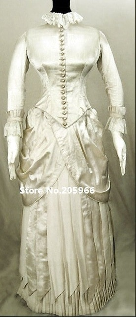 1880 Victorian Reproduction Silk Satin French lace Wedding Bustle Gown Function Dress Event Dress 640x640
