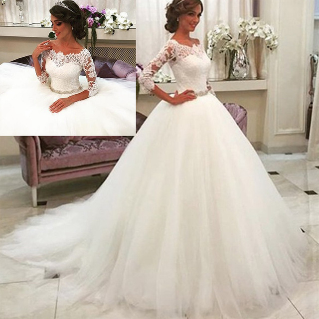 long sleeved wedding gowns lovely romantic ball gown vestiod de novia 2017 vintage priceness wedding