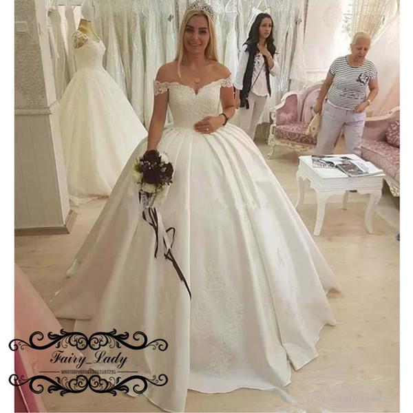 Vintage White Wedding Dress Elegant 2019 Wedding Dress for Women Appliques Vintage White Satin F Shoulder Long Puffy Ball Gown Bridal Dresses Vestido De Noiva Bargain Wedding Dresses