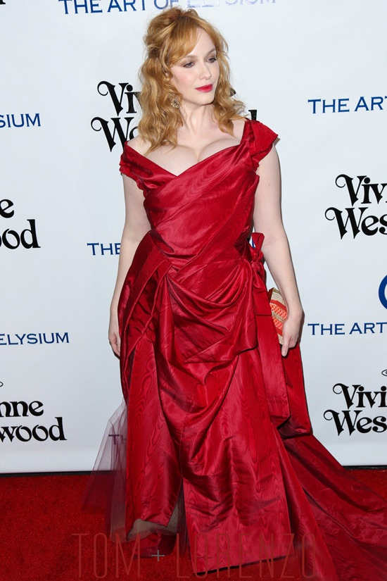 embroidered wedding dress about christina hendricks in vivienne westwood at the art of elysium 2016