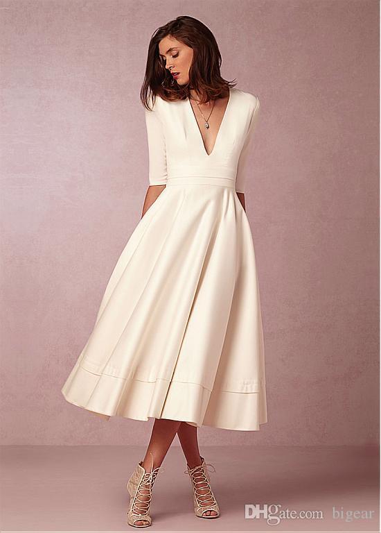 vintage tea length v neck wedding dress half