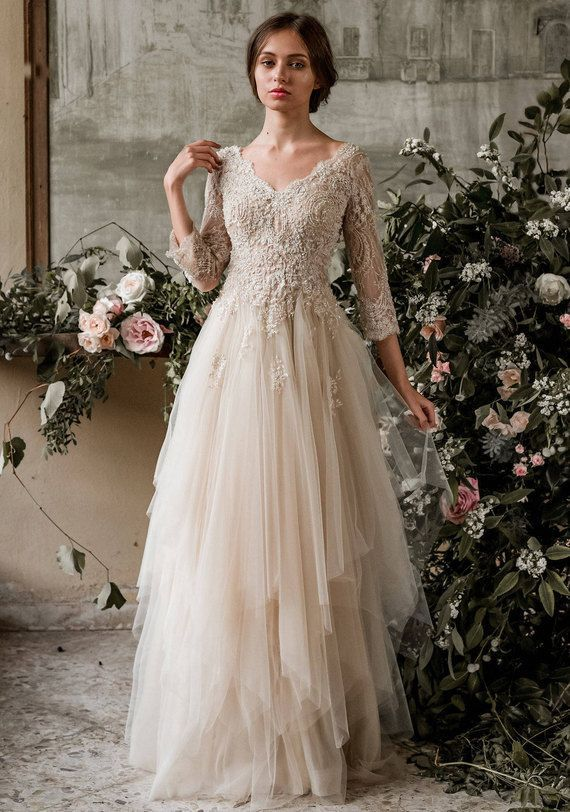 Wedding Dress Champagne Color Luxury Champagne Bohemian Wedding Dress Boho Wedding Dress Long