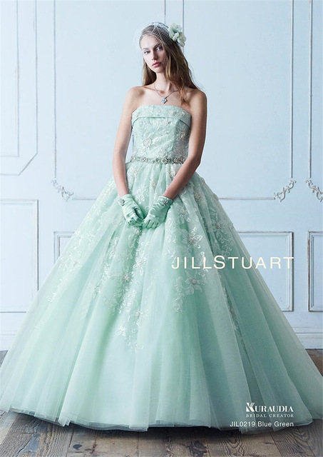 Strapless Sequin Lace Crystals Ball Gowns Mint Green Wedding Dress With Color Detachable Bow Back Bridal 640x640
