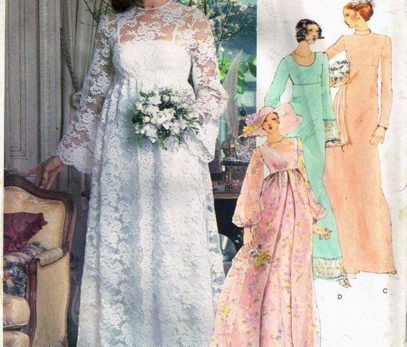Wedding Dress Empire Waist Best Of Size 14 Vintage Boho Wedding Dress Sewing Pattern Empire