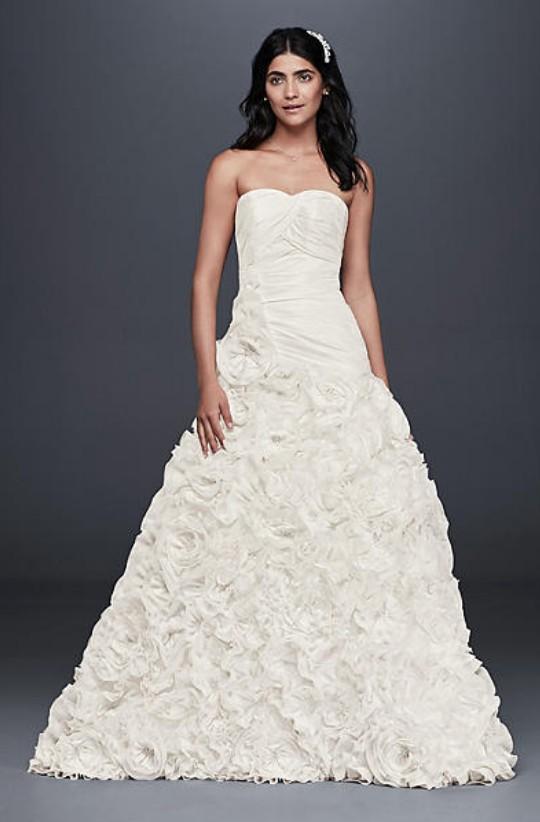 Wedding Dress for Petite Awesome David S Bridal Collection Rosette Skirt Wedding Dress Wedding Dress Sale