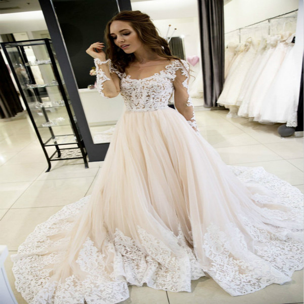 Wedding Dress for Petite Inspirational Discount Petite Boho Wedding Dress Hippie A Line Champagne Illusion Lace Long Sleeves Country Bohemian Wedding Dresses for Women Princess Bridal Gown