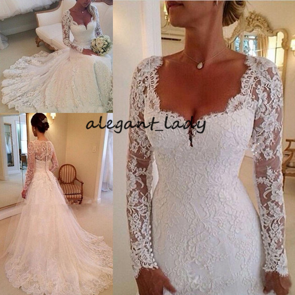 Wedding Dress for Petite Luxury Vintage Sweetheart Wedding Dresses with Long Sleeve 2019 Retro Full Lace Applique Covered button Country Church Bridal Temple Wedding Gown Strapped