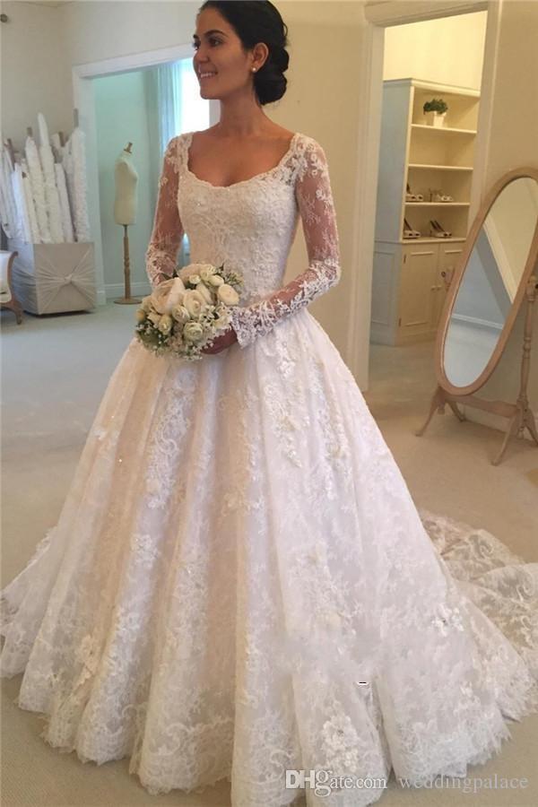 scoop neck a line vintage lace wedding dresses