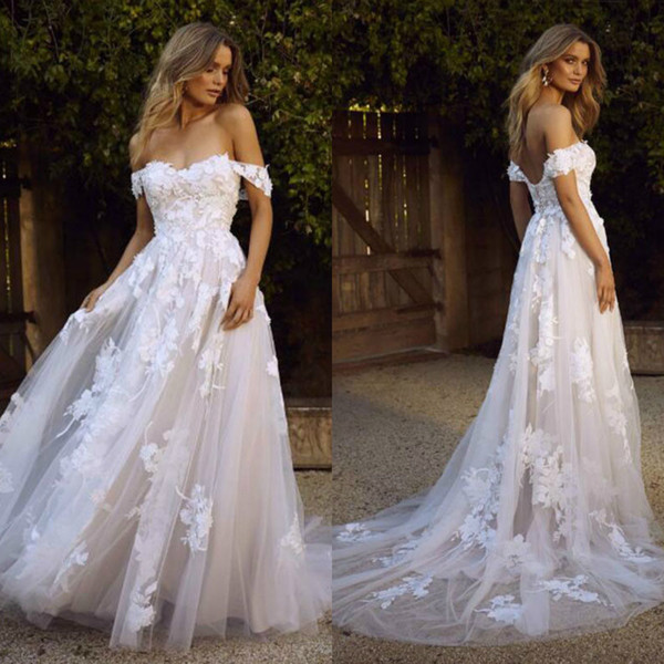Wedding Dress for Short Bride New Discount Berta 2019 A Line Beach Wedding Dresses Bohemia Lace Appliqued F the Shoulder Wedding Gowns Backless Y Summer Beach Bridal Dress Short