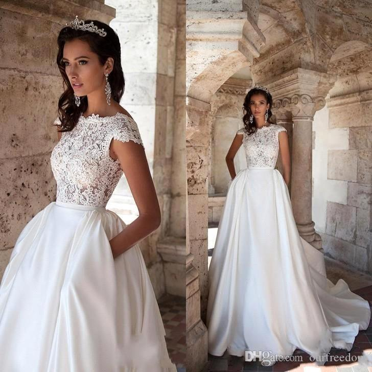 2018 new vintage a line wedding dresses with