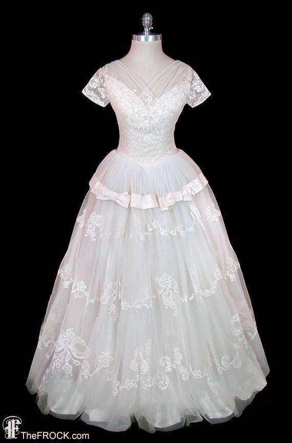 Wedding Dress Price Range Beautiful 1950s Wedding Dress Applique Lace & Tulle Silk Taffeta