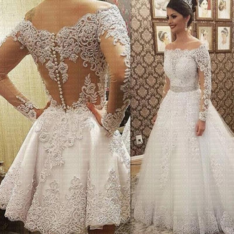 2019 Vestido De Noiva Boat Neck Long Sleeves 2 in 1 Wedding Dress Heavy Pearls Luxury