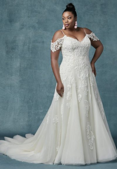 maggie sottero a line cold shoulder sleeves tulle wedding dress 400x580