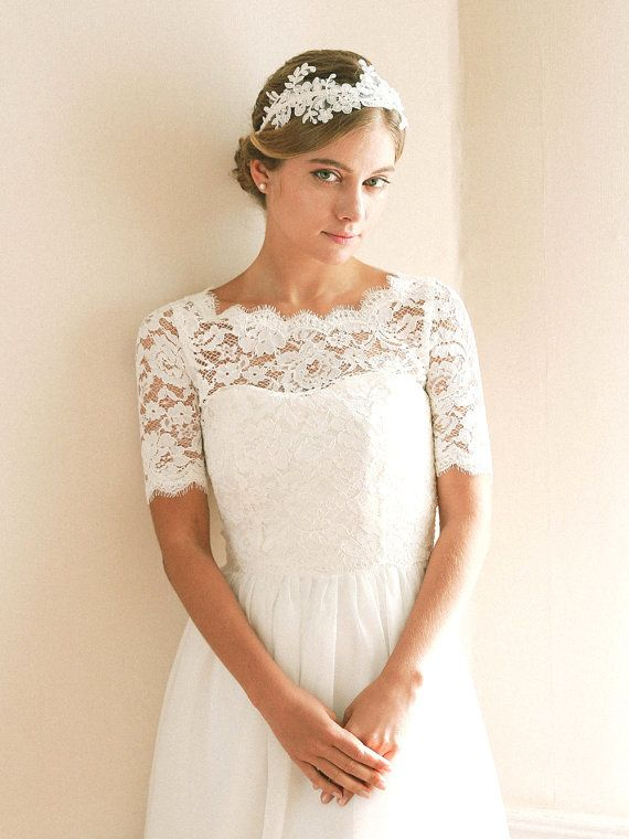 Wedding Dress topper Luxury Delicate Floral Alecone Lace topper is A Romantic Bridal