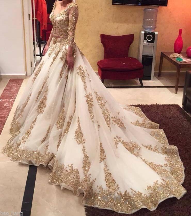 empire shiny gold sequined wedding dresses