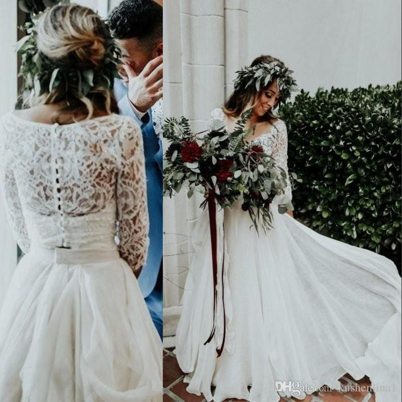 two pieces bohemian wedding dresses a line