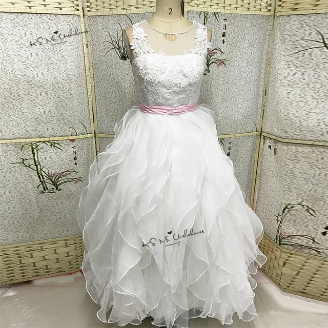 Lace Holy munion Dresses 2017 Pageant Ball Gowns For Girls Wedding Gowns Kids White Pink Flower 640x640