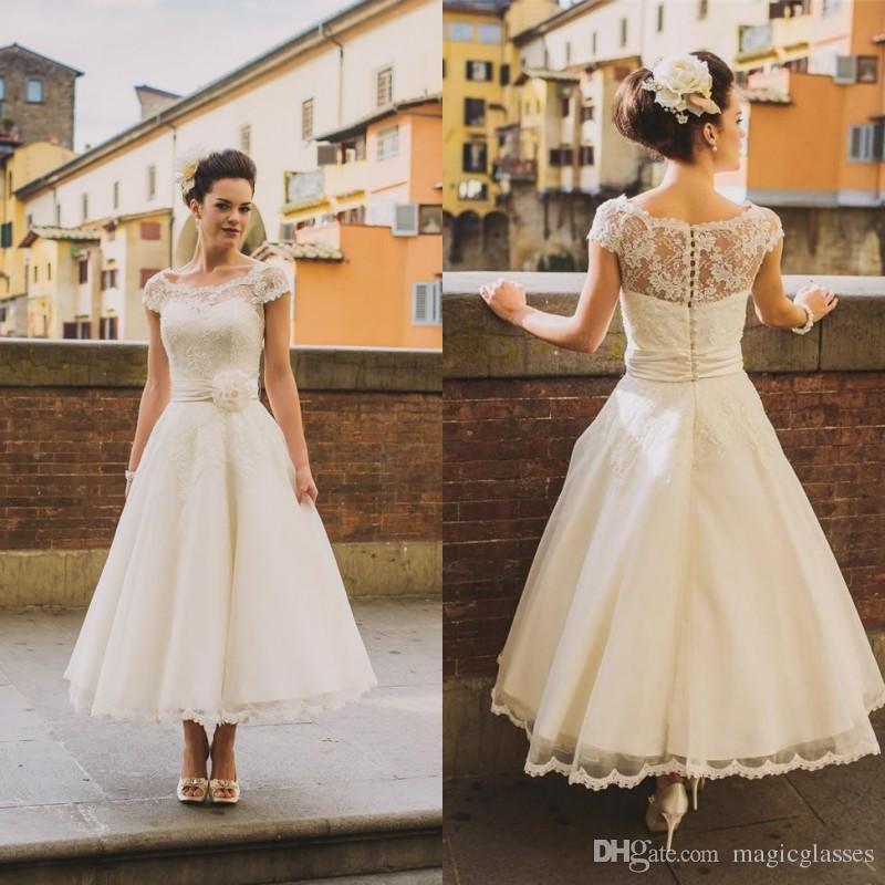 rustic wedding dresses discount tea length vintage lace plus size wedding dresses 2017 a preferred