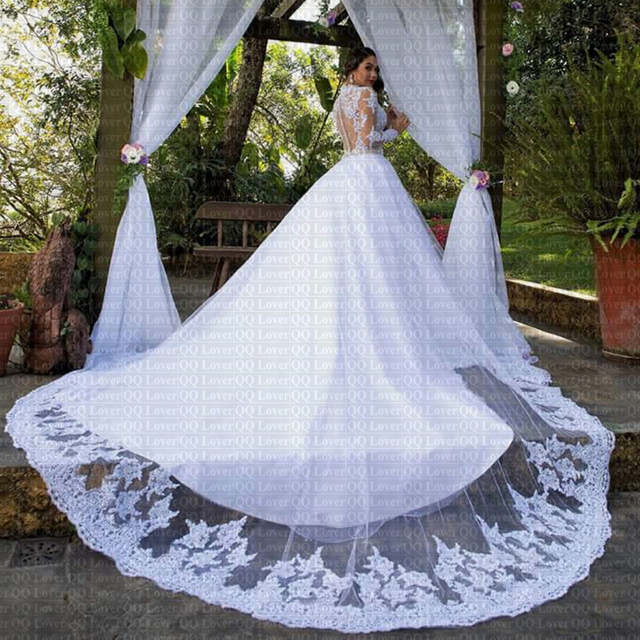 2019 New Skin Color Illusion Long Sleeve De Novia Stunning Neck Applique Lace Wedding Dresses Bridal 640x640q70