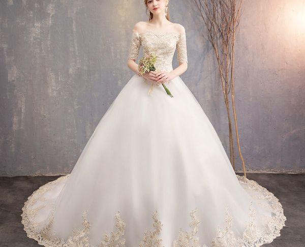 Wedding Dresses Clearance Awesome 2019 New Fashion White Design Wedding Dress Bride Dream Princess Long Tail Slender Shoulder Court Size China Wedding Dresses Clearance Wedding Dresses