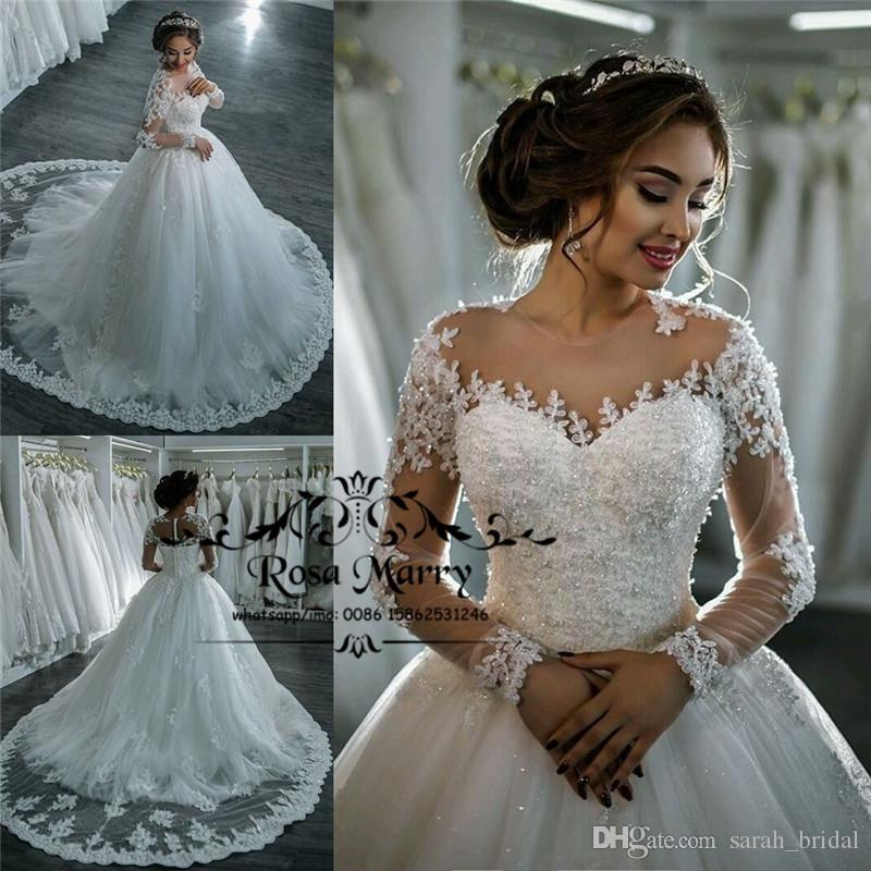 luxury sequined beaded arabic wedding dresses