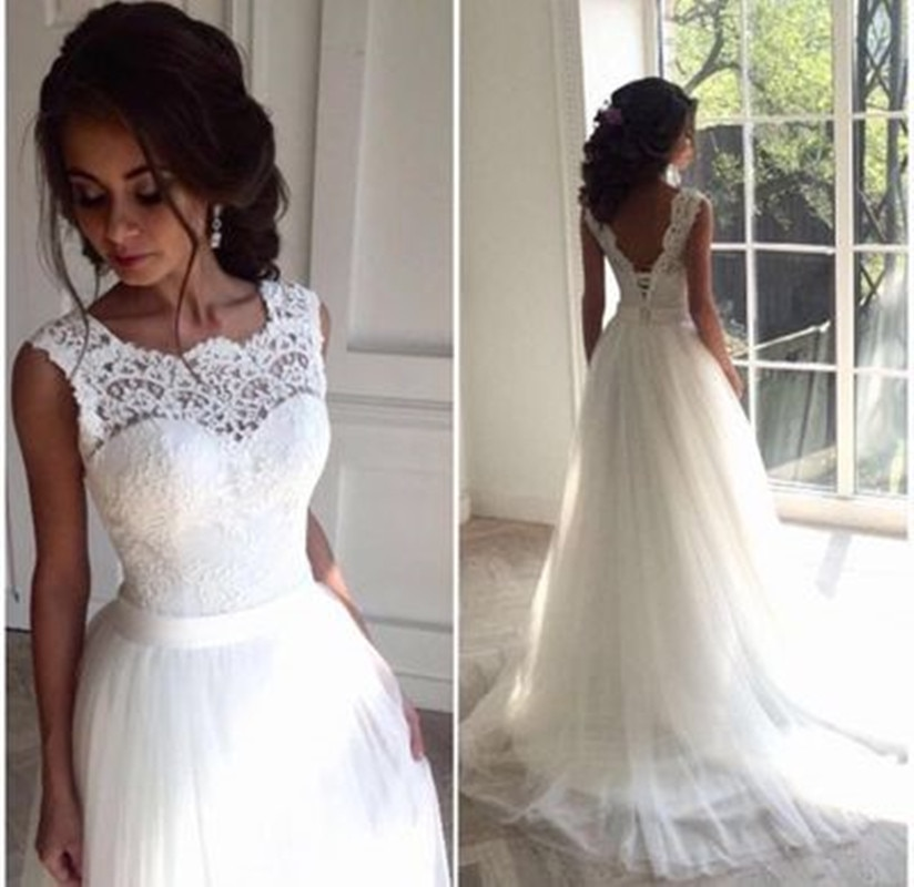 White Boho Wedding Dress A Line Vestido de Novia Plus Size Bridal Dresses Robe de Novia