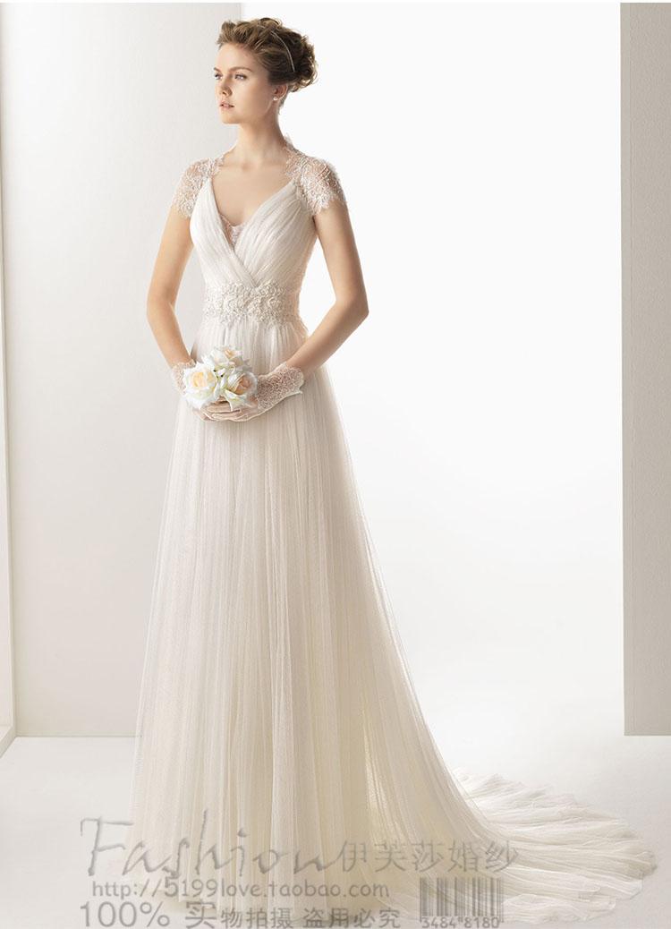 free shipping 2016 elegant V neck white long princess sweetheat lace short sleeve empire waist beach