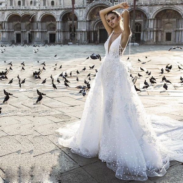 Wedding Dresses Feather Best Of Modern Overskirt Mermaid Wedding Dresses Deep V Neck Lace Appliqued Beach Wedding Gowns Backless Feather Boho Bridal Dress Red Wedding Dresses Y
