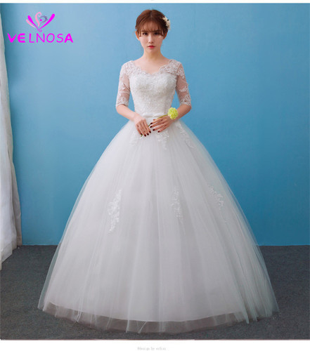 christian wedding gown white o neck solid lace floor length 500x500
