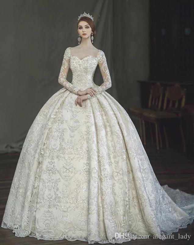 modern wedding gown luxury vintage victorian gothic ball gown wedding dresses 2018 amazing lace