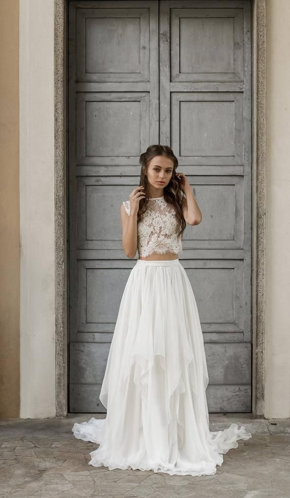 Wedding Dresses for Eloping Luxury Silk and Lace Wedding Separates Bridal Separates 2 Piece