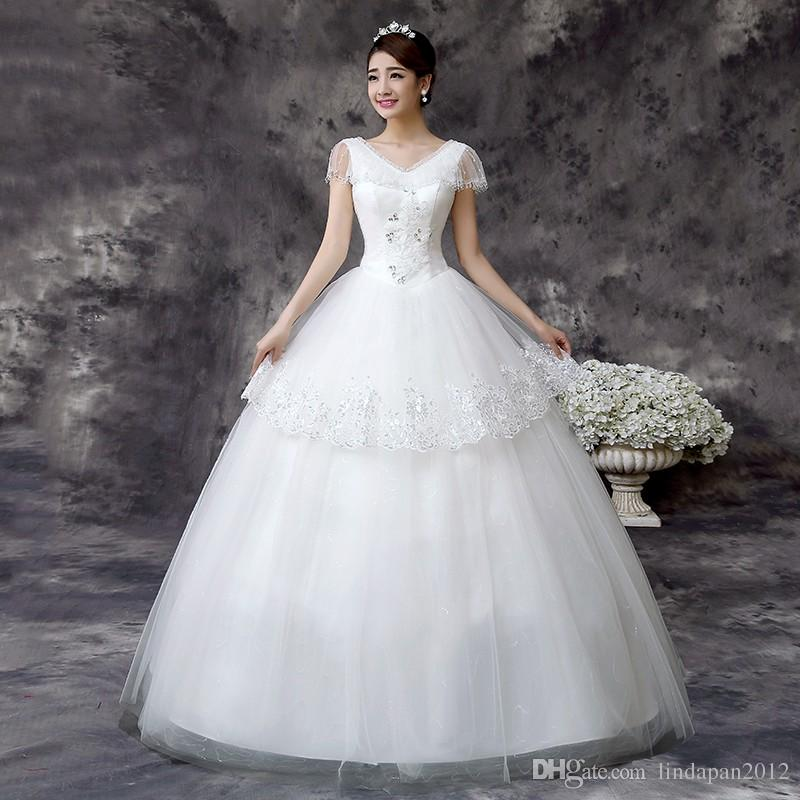 Wedding Dresses for Larger Busts Beautiful Wedding Dress 2016 Hot Sale Sweetangel China Wedding Gowns Korean Style Lace Wedding Dress De Noiva Fashion White Princess Qd61