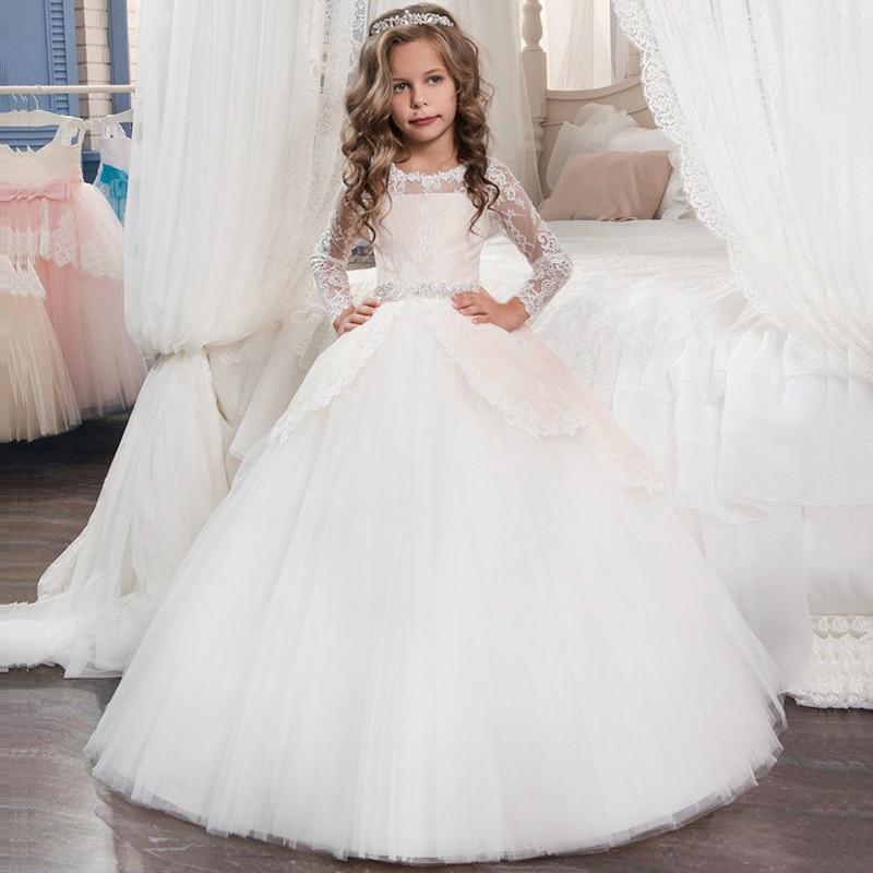 Winter Long Sleeve Dress Wedding Dress For Girls Kids Christmas Costume Bridesmaid Girls Dress Party Princess