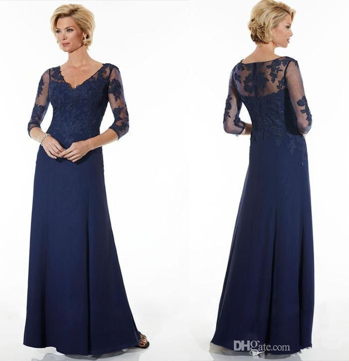 Wedding Dresses for Mom Of the Groom Unique 2016 Vintage Navy Blue Mother the Bride Dresses Lace