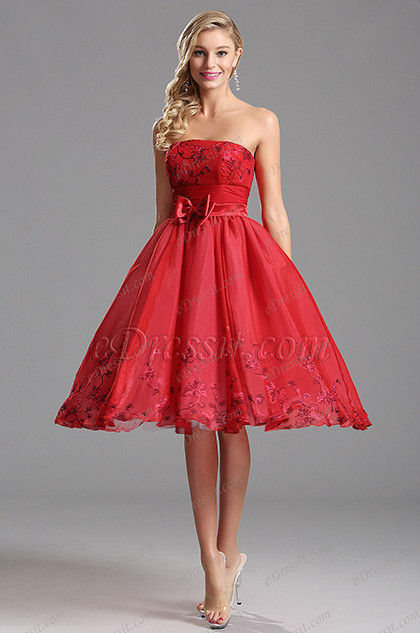 cocktail dresses for wedding reception strapless tea length red cocktail dress party dress x awesome