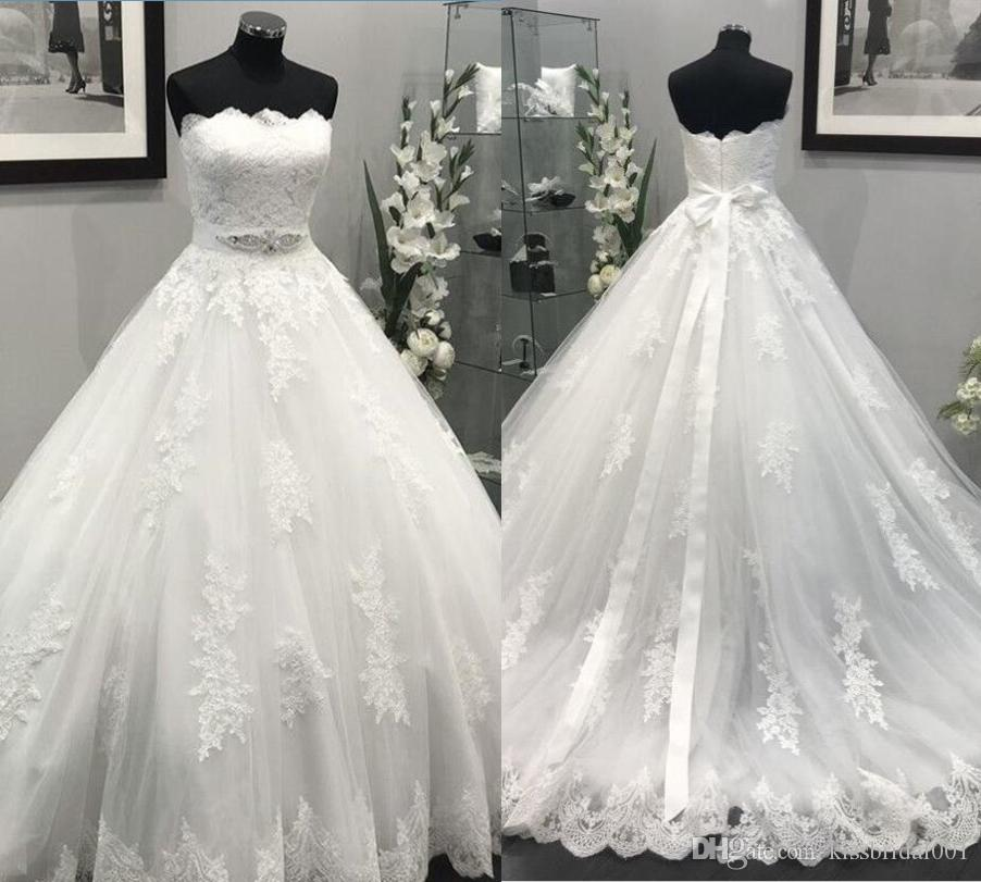 Wedding Dresses for Reception Inspirational Actual S 2019 Lace Wedding Dresses A Line Vintage Retro formal Bridal Gowns Strapless Sweep Train Wedding Reception Dress