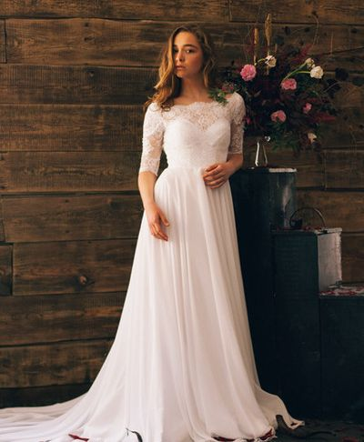 Wedding Dresses for Summer Best Of Discount 2017 A Line Boho Wedding Dresses Lace top Chiffon Skirt Rustic Summer Bridal Gowns Low Back F the Shoulder Half Sleeves Informal Beach